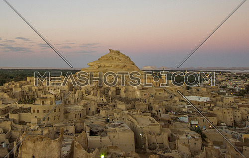 Extreme shot for Shali City The ancient city of Siwa Oasis at sunset