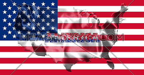 United States of America Map With American Flag and Country Name 3D illustration