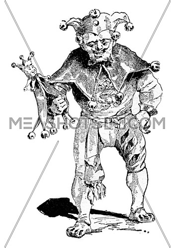 Jester, vintage engraved illustration. Dictionary of words and things - Larive and Fleury - 1895.