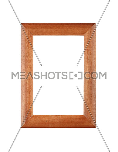 Simple minimalistic vertical wooden brown classic frame for picture or photo, isolated on white background, close up