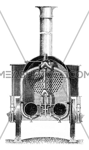Cross section through the smoke box, vintage engraved illustration. Magasin Pittoresque 1861.