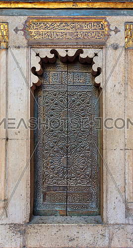Bronze-plate ornate door of minbar (platform) of the Sultan Hasan mosque, Cairo, Egypt
