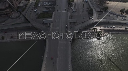 Aerial shot flying over 6th of October Bridge during the corona pandemic lockdown by day 10 April 2020