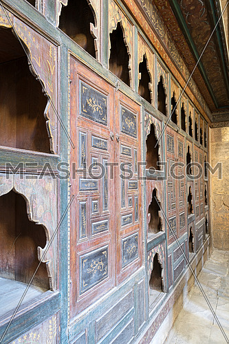 Embedded wooden ornate cupboard, in one of the rooms of Beit (house) of El Harrawi, an old Mamluk era historic house in Cairo