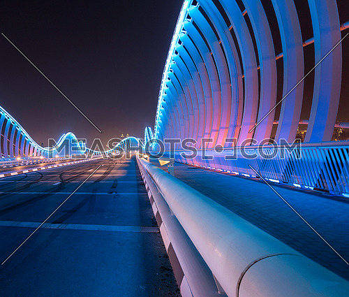 Meydan Bridge at night With Beautiful Blue lights