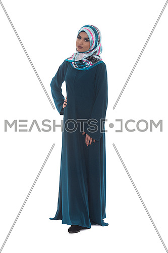 Beautiful Young Muslim Woman Pose Isolated On White Background