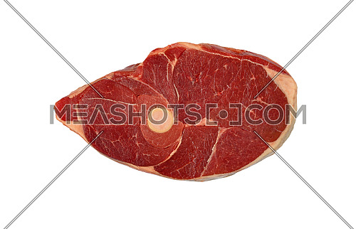 Close up raw lamb or mutton meat ossobuco or osso buco shank isolated on white background, elevated top view, directly above