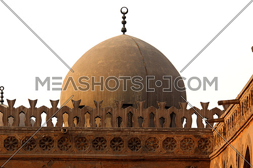 a photo of a dome in Ahmed bin Tolon Mosque in old Cairo, Egypt showing the style of Architecture used at that time
