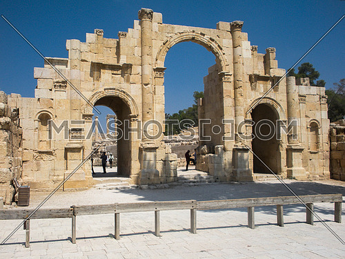 One of the gates of the historical site at Jarash, Jordan