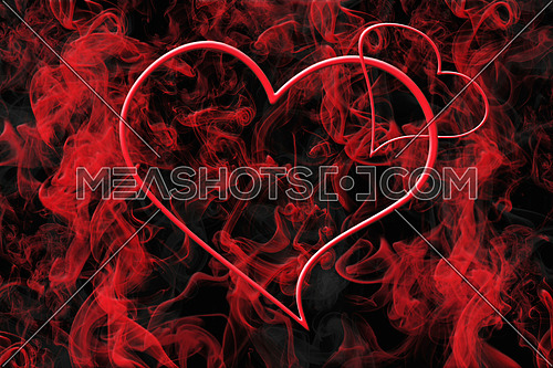 Hearts and Red Smoke. Valentine's Day Love Concept Background 3D Illustration