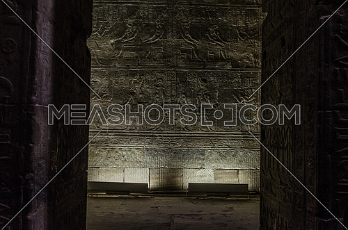 Hieroglyphics writings on ancient walls in a pharaohs old temple