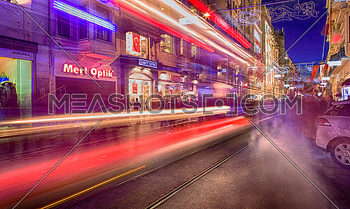 Istiklal street at night in Istanbul, Turkey in high exposure