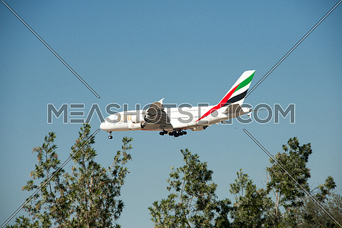 Emirates Airlines Airbus A380-800 Airplane landing