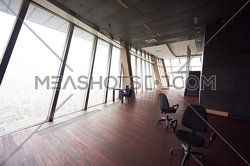 empty penthouse,  modern bright duplex office apartment interior  with staircase and big windows