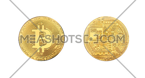 Close up two sides of golden bitcoin physical coin isolated on white background