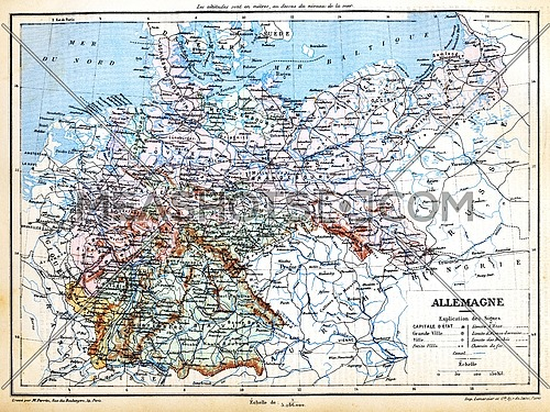 The map of Germany with signs and their explanation.