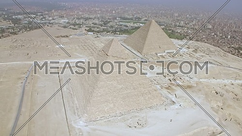 Reveal Shot Drone for The Great Pyramids of Giza in giza at day