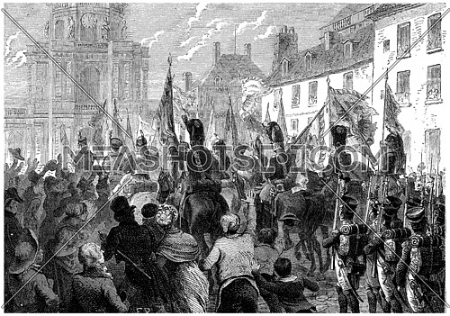Russian and Austrian flags doors triumphantly in the Senate, vintage engraved illustration. History of France – 1885.