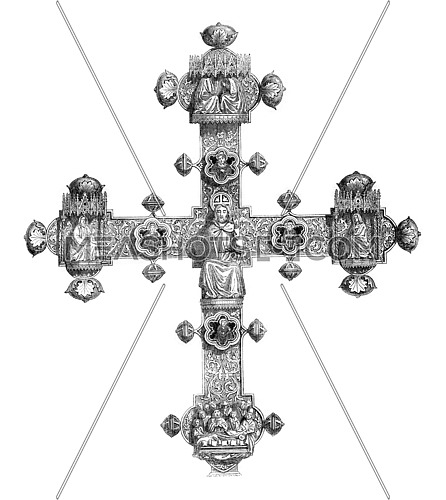 Reverse of the Cross of Lanciano, vintage engraved illustration. Magasin Pittoresque 1846.