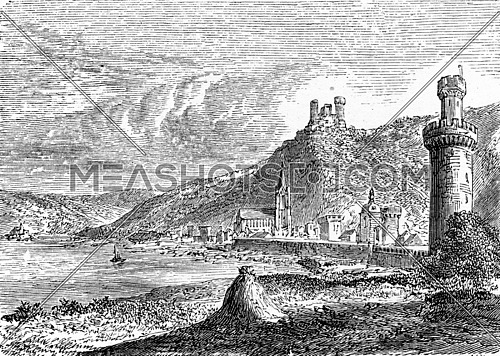 Village Oberwesel, vintage engraved illustration. From Chemin des Ecoliers, 1861.
