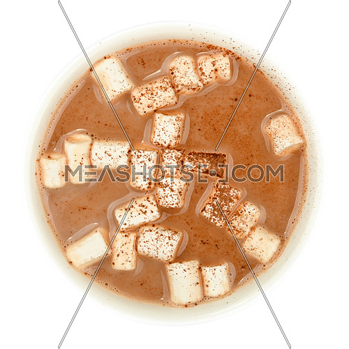Close up cocoa hot chocolate with marshmallow cup top isolated on white background, top view, directly above
