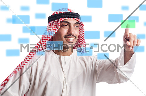 Arab pressing virtual buttons