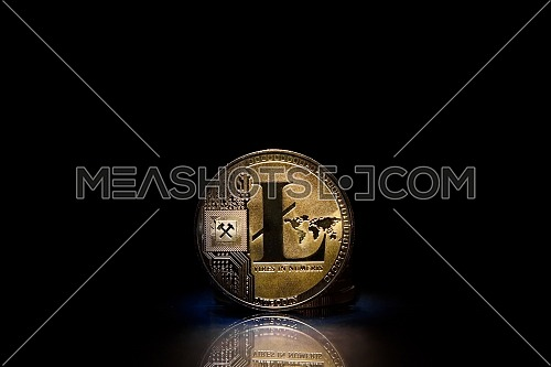 Litecoin (LTC) token, standing upright on a reflective black background