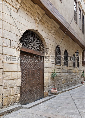View from Darb Asfour Lane showing part of the facade of Bayt Al-Suhaymi, an old Ottoman era house in Medieval Cairo, Egypt