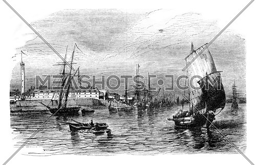 View of the port of Lorient in Brittany, department of Morbihan, vintage engraved illustration. Magasin Pittoresque 1843.