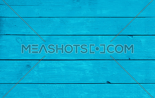 Close up background texture of teal blue vintage weathered painted wooden planks, rustic style wall panel