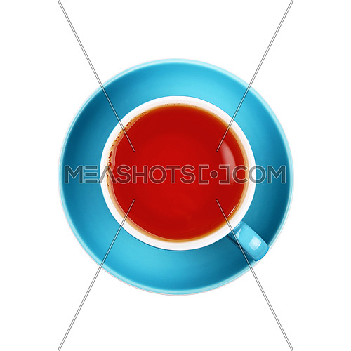 Full cup of black tea on blue saucer isolated on white background, close up, elevated top view, directly above