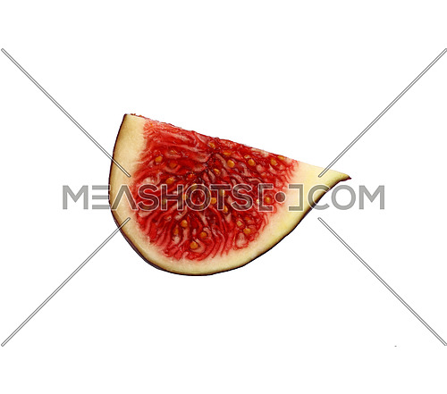 Close up cut quarter of fresh ripe juicy fig fruit isolated on white background, low angle side view