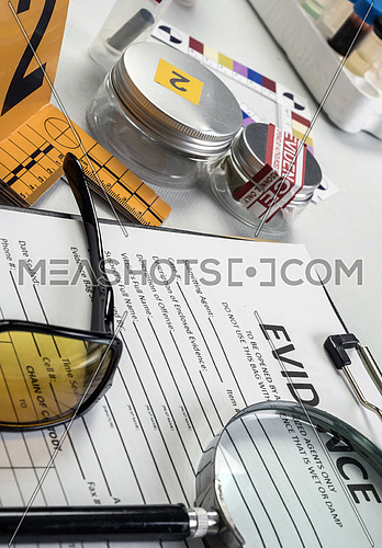 Various laboratory evidence forensic equipment, conceptual image