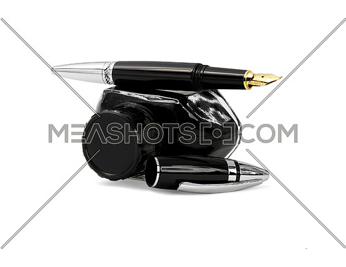 fountain pen and black ink bottle isolated on white background