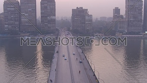 Fly over Shot Drone for Al Gamaa Bridge (Cairo Universty Bridge) in 22th of March 2018 in Giza  at Dusk