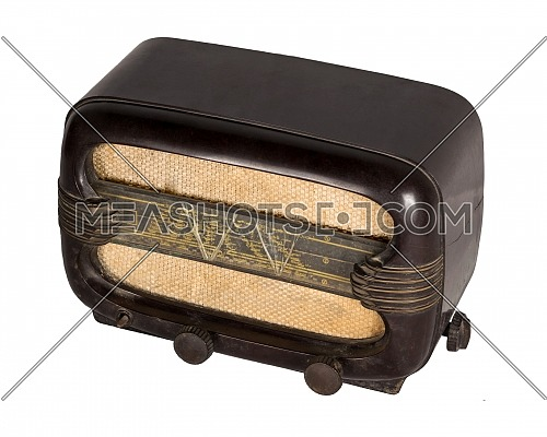 Cut Out Still Life Of an Aged Analog Radio in Studio with White Background, includes clipping path