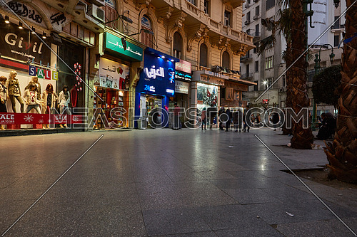 Side Shot for People Walking at Talat Harb Square at Cairo at Day