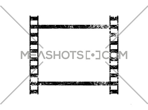 Vector illustration of one old vintage grunge retro styled classical film frame isolated on white background