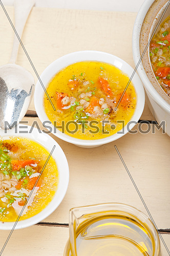 traditional Syrian barley broth soup Aleppo style called talbina or tirbiyali typical food after Ramadan
