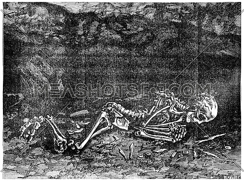 The fossil man found in 1872 in a cave in Menton, now in the Museum of Paris, vintage engraved illustration. Earth before man – 1886.