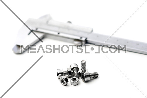 caliper and bolts on white background