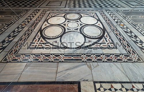 Marble floor decorated with geometrical patterns at Sultan al Ghuri Mausoleum, Cairo, Egypt