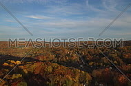Aerial view of rural Connecticut town in autumn