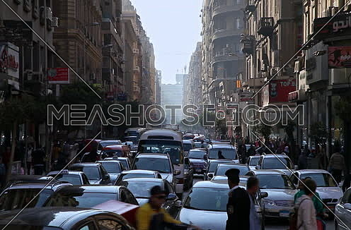 Fixed  Shot for Traffic at downtown at Cairo at Day