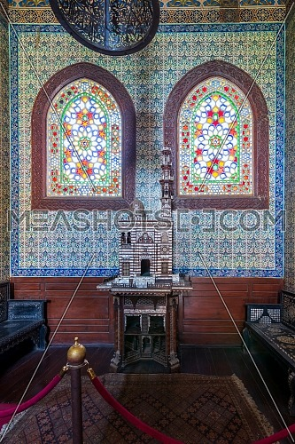 Turkish ceramic tiles wall, ornate ceiling and stained glass windows, Residence hall at Manial Palace of Prince Mohammed Ali, Cairo, Egypt