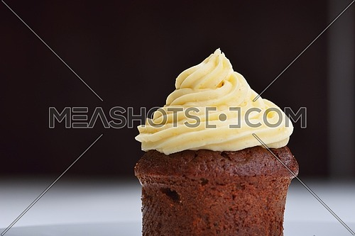 muffin with chocolate sauce dessert isolated on white background