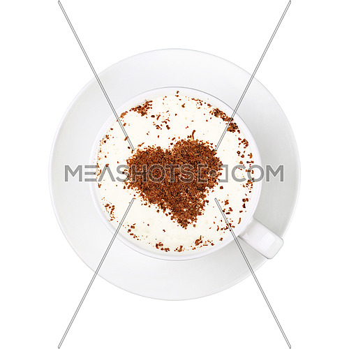 Close up one full white cup of frothy latte cappuccino coffee with heart shaped brown chocolate art, on saucer isolated on white background, elevated top view, directly above