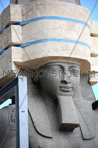 Close up shot for The Statue of King Ramses II face  holded by machines while transferring process to the Grand Egyptian Museum in Cairo on 25 January 2018