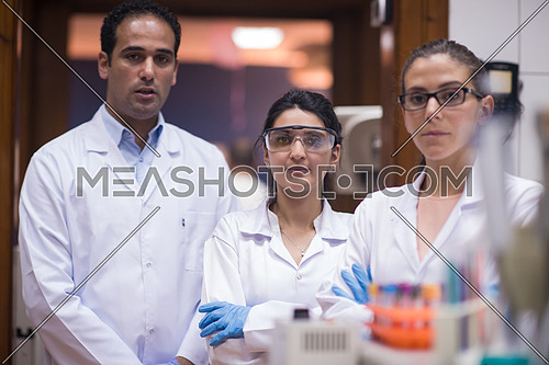 Young middle eastern people enjoy while doing research in a large modern laboratories