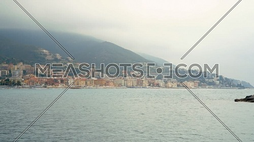 Panorama of the harbor of Varazze on a cloudy day,Background Varazze town, Liguria Italy